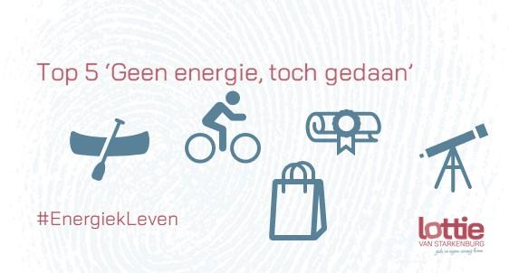 Top 5 'Geen energie, toch gedaan' symbolen voor kano, fiets, diploma, sterrenkijken, tas. @EnergiekLeven