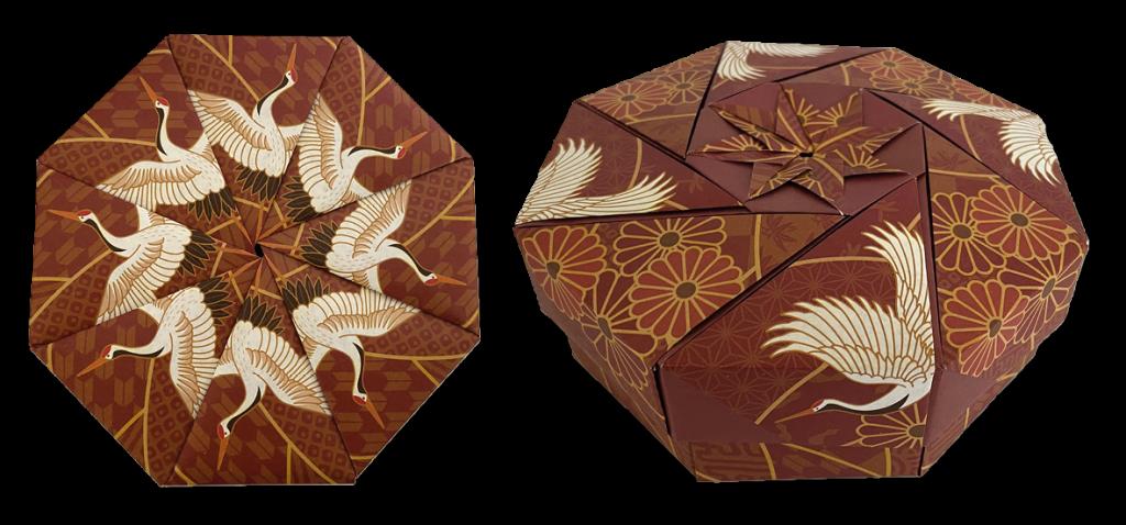 origami doosje met kraanvogels
