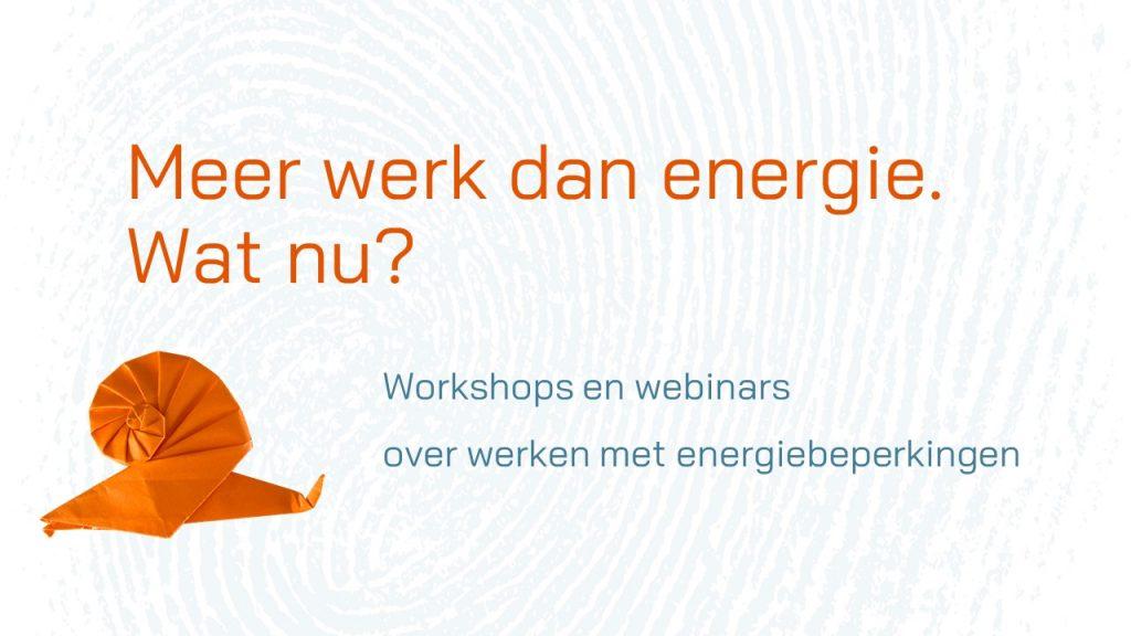 Meer werk dan energie. Wat nu? Workshops en webinars over werken met energiebeperkingen